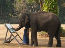 De kunstenaar van de olifant Stock Afbeelding
