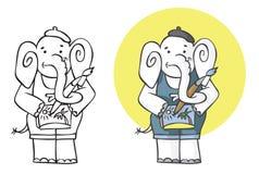 De kunstenaar van de illustratieolifant Stock Foto
