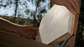 De kunstenaar zet een canvas op een schildersezel Straatkunstenaar stock videobeelden