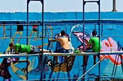 De kunstenaars van Graffiti Stock Afbeelding