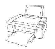 De kunstillustratie van de printer leuke hand getrokken lijn Stock Afbeeldingen