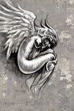 De kunstillustratie van de tatoegering, engel met viool Stock Afbeeldingen