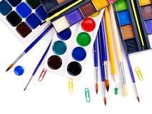 De kunstlevering van de school stock afbeeldingen