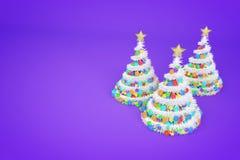 De kunstmatige illustratie van de Kerstbomen 3d kleur royalty-vrije illustratie
