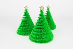 De kunstmatige illustratie van de Kerstbomen 3d kleur vector illustratie