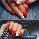 De kunstmatige spijkers moeten worden aangepast Manicure, de spijkers, rood nagellak royalty-vrije stock afbeelding