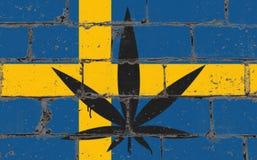 De kunstnevel die van de graffitistraat op stencil trekken Cannabisblad op bakstenen muur met vlag Zweden vector illustratie