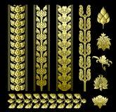 De kunstvector van het grens Thaise patroon met pictogrambloemen.  Royalty-vrije Stock Fotografie