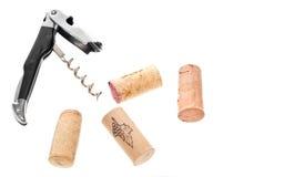 De kurketrekker en de Wijn kurken Stock Fotografie