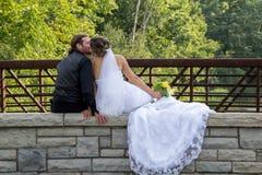 De kus van de bruid en van de bruidegom Royalty-vrije Stock Afbeelding