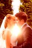 De kus van de huwelijkszonsondergang Royalty-vrije Stock Foto