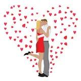 De Kus van de valentijnskaart Stock Afbeeldingen