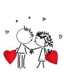 De kus van de valentijnskaartendag, beeldverhaal romantische mensen in liefde Stock Foto