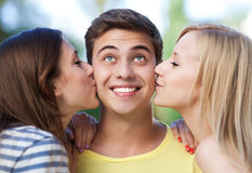 De kus van de verrassing Stock Foto's