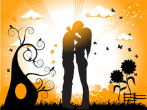 De kussen van het paar op een weide Stock Afbeelding