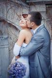 De kussende bruid van de bruidegom Stock Foto