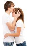 De kussende vrouw van de man. Royalty-vrije Stock Foto
