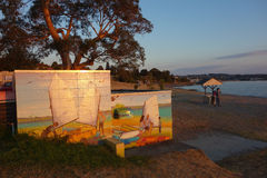 De kust en de muurschildering het schilderen van meertaupo van varende boten Royalty-vrije Stock Afbeeldingen