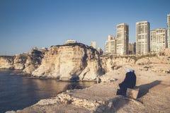 De kust van Beiroet Libanon en hoge gebouwen Stock Foto