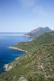 De kust van Corsica, Frankrijk dichtbij dorp van Girolata Royalty-vrije Stock Foto