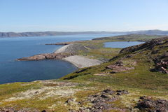 De kust van de Barentsz Zee Stock Afbeelding