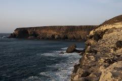De kust van de klip in Ajuy - Fuerteventura Royalty-vrije Stock Afbeeldingen