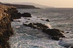 De kust van de klip in Ajuy - Fuerteventura Stock Foto