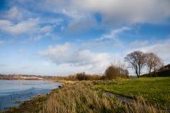 De kust van de rivier in de recente herfst Stock Afbeelding
