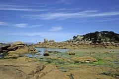De kust van de steen dichtbij Ploumanach, Bretagne, Frankrijk Stock Afbeeldingen
