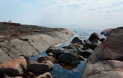 De kust van de steen van Ladoga Stock Foto