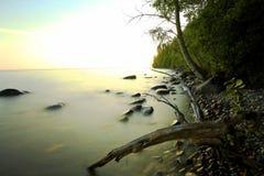 De kust van de strandsteen met bevroren water Stock Afbeelding