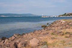 De kust van de Zwarte Zee naast Nesebar, Bulgarije Royalty-vrije Stock Afbeelding