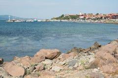 De kust van de Zwarte Zee naast Nesebar, Bulgarije Stock Foto