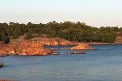 De kust van Granit in Hanko Stock Afbeeldingen