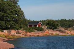 De kust van Granit in Hanko Stock Fotografie