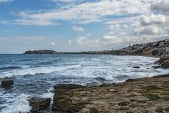 De kust van het Eiland Kreta dichtbij de stad van Reus met een vi Royalty-vrije Stock Afbeelding