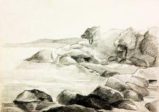 De kust van het meer stock illustratie