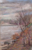 De kust van het meer in de vroege lente Stock Foto