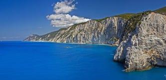 De kust van het westen van Lefkada Stock Afbeeldingen