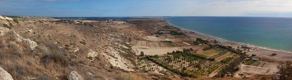 De kust van Kourion, panorama Royalty-vrije Stock Foto's