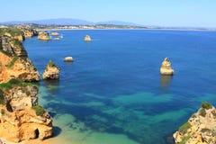 De kust van Lagos, Algarve in Portugal Stock Afbeeldingen