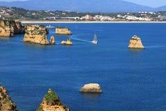 De kust van Lagos, Algarve in Portugal Royalty-vrije Stock Afbeeldingen