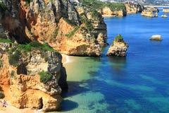 De kust van Lagos, Algarve in Portugal Stock Afbeelding