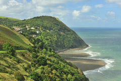 De kust van Lynmouth, Devon Stock Foto's