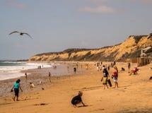 De Kust van Nieuwpoort, Californië - Oktober 8, 2018: Een landschapsmening van het strand en de grote klip in Crystal Cove in de  stock foto