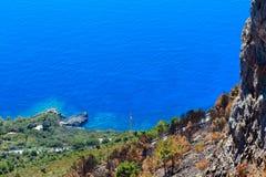 De kust van Thyrreense Zee dichtbij Maratea, Italië Royalty-vrije Stock Foto's
