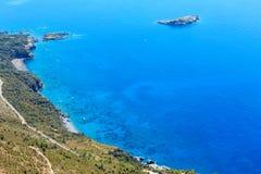 De kust van Thyrreense Zee dichtbij Maratea, Italië Royalty-vrije Stock Afbeeldingen