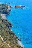De kust van Thyrreense Zee dichtbij Maratea, Italië Stock Foto