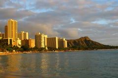 De Kust van Waikiki en het Hoofd van de Diamant Stock Fotografie