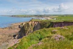 De kust van zuidendevon naar Thurlestone-Zuiden Devon England het UK van Hoopinham Royalty-vrije Stock Afbeelding